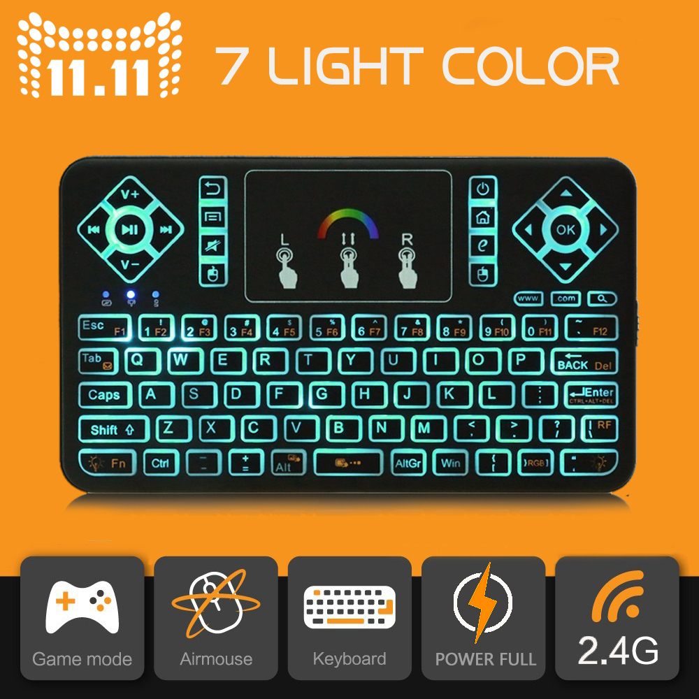 Q9 Mini 2.4GHz Wireless Keyboard 7 Colorful Backlit Touchpad Keyboard for Android/Windows/Google Smart Tv Air Mouse t2 2 4ghz ultra thin wireless mini keyboard with touchpad mouse colorful backlit