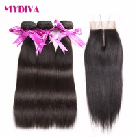 Mydiva Brazilian Hair 3 Weaves With Closure 4 Pcs Lot Straight Human Hair Bundles With Lace