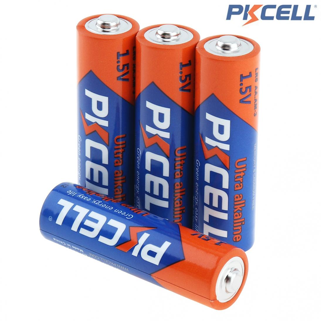PKCELL 4pcs <font><b>AA</b></font> LR6 <font><b>1.5V</b></font> Alkaline Dry <font><b>Battery</b></font> E91 AM3 MN1500 Primary Batteires for Car Camera Mouse Shaver Recreational Machines image