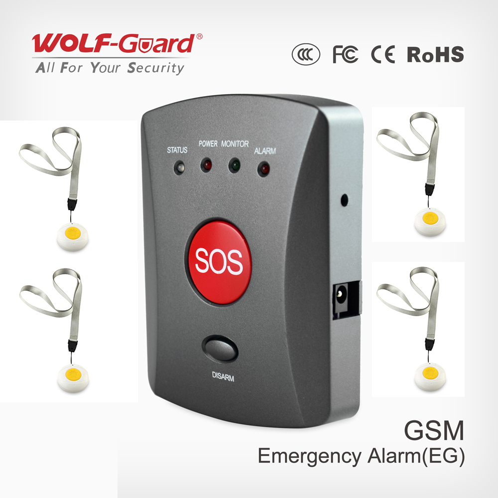 Wolf-Guard Wireless GSM SMS SOS Button Panel One Key Alarming Elder Children Emergency with Wristband SOS for Home Alarm System