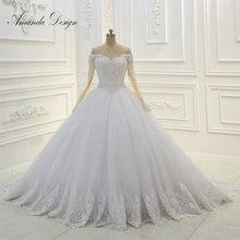 Amanda Thiết Kế Tắt Vai Dài Tay Áo Ren Đính Ngọc Trai Bóng Gown Wedding Dress