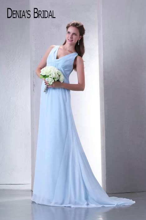 Real Photos Blue V-Neck Sleeveless   Bridesmaid     Dresses   Pleats Floor-Length Sheath Long Prom   Dresses