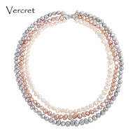 Vercret Irregular Freshwater Pearl 3 Layer Choker Necklace With 925 Sterling Silver Delicate Clasp Pearl Jewelry