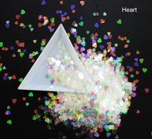 10g/pack, Mix Heart/Star/Horse Eye/Flower Shapes Sequins, Iridescent Rainbow Shining Slices 3D nail art glitters paillettes(China)