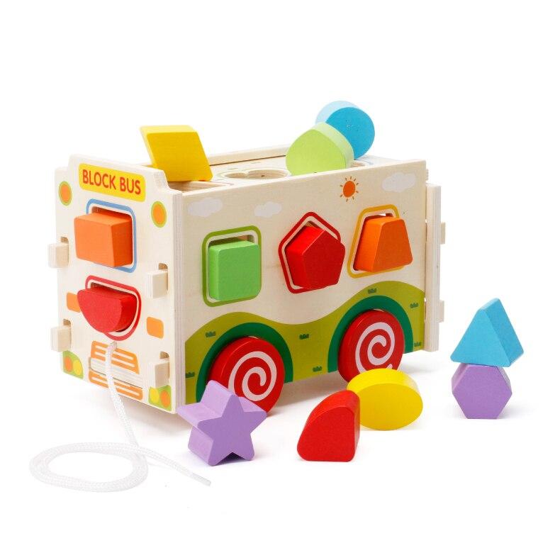 Chanycore bébé apprentissage jouets éducatifs en bois forme géométrique blocs boîte tri correspondant remorquable mwz Montessori cadeaux 4191