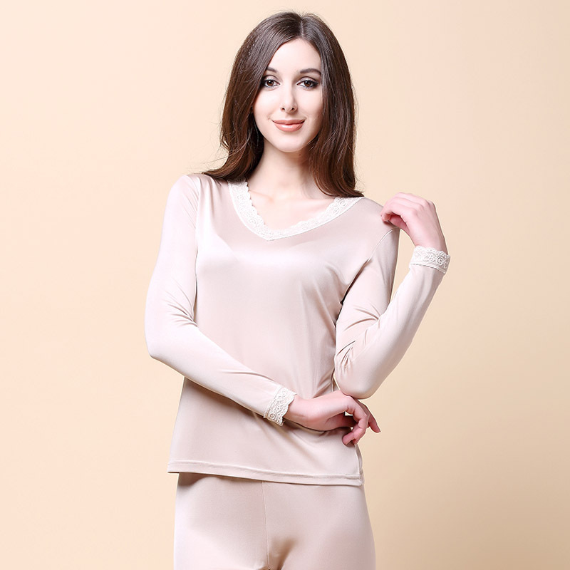 100% Silk Underwear, V Collar, Lace, Silk, Double-sided Knitted Comfortably Silk Long Johns