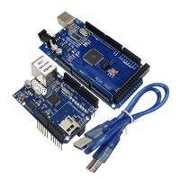 Ethernet W5100 Netzwerk-erweiterungskarte Sd-karte Schild mit Mega 2560 R3 Mega2560 REV3 und Usb-kabel für arduino DIY Starter Kit