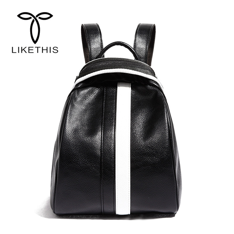 Women Backpack Fashion PU Leather Solid School Bags For Teenager Girls Large Capacity Casual Women Black Backpacks 168 309