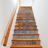13PCS Color Simulation Tiles Antique Family Staircase Stickers Creative Simple Wall Stickers MI03