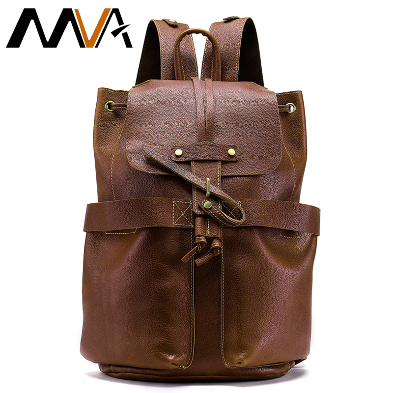MVA Men's Genuine Leather Backpack String mochila masculina Large Capacity Back Pack Designer Backpacks Male School Bag the canterbury tales a selection