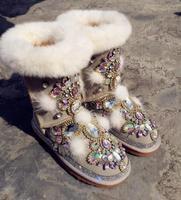 2019 comemore luxury handmade custom rabbit fur gem leather snow boots European station Thai street fashion shoes
