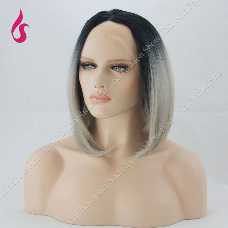 Ombre Wig Natural Black Silver Grey Short Bob Grey Synthetic Lace Front Wig Glueless Heat Resistant