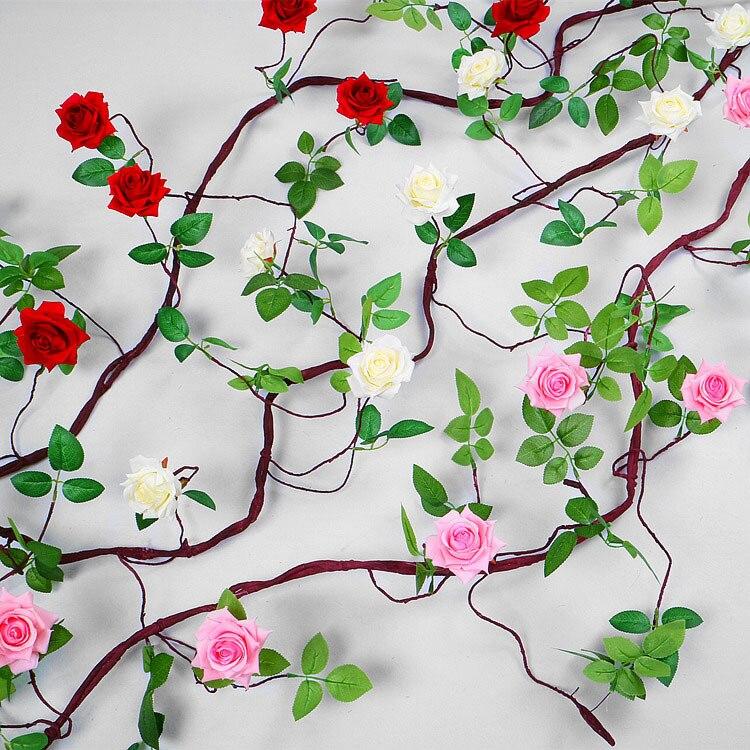 Acheter 3 Mètres De Luxe Artificielle Rose Rotin Maison De Mariage décoration Soie + En Plastique Ivy Vigne Suspendu Guirlande Partie Couronne Faux fleurs de fake flowers fiable fournisseurs