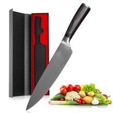 Кухонный нож Mokithand, 8 дюймов, профессиональные японские поварские ножи 7CR17 440C, нож из нержавеющей стали с высокоуглеродистой поверхностью для мяса, нож Santoku