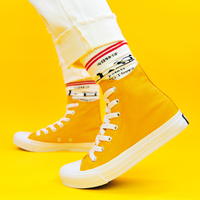 Wen High Top Unisex Canvas Shoes Solid Yellow Sneakers DIY Color Custom Original Design Hand Painted Shoes Women Vulcanize Shoes