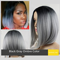 Grey Ombre Wig False Hair Synthetic Wigs for Black Women Heat Resistant Short Bob Ombre Wig High Quality