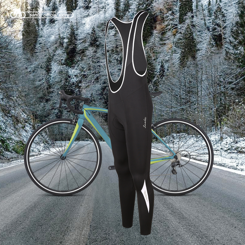 Santic Men Cycling Bib Pants 4D Padding Cushion Winter MTB Bike Cycling Bib Long Pants Warm Fleece Asian Size M-3XL K7MC019 santic cycling pants road mountain bicycle bike pants men winter fleece warm bib pants long mtb trousers downhill clothing 2017