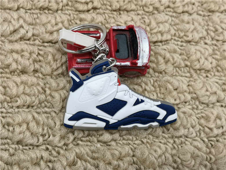 Bonito Mini Silicone Jordan 6 Homens Mulher Kids Presentes Chave Anel Keychain Charme Saco Acessórios Sapatos AJ Sapatilha Chave Titular pingente