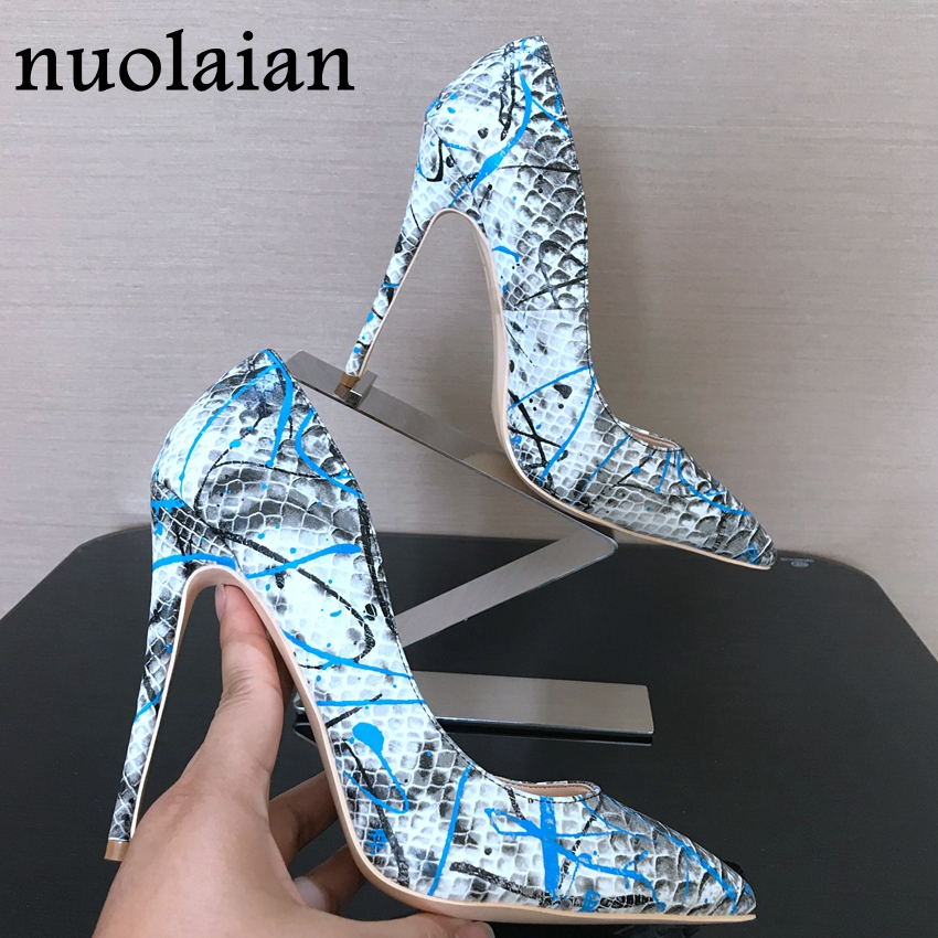 2018 New 8/10/12CM Thin Heels Womens Shoes Shallow Snake Brand Design Leather Shoes Woman Pointed Toe High Heel Shoes Sexy Pumps craylorvans top quality 8 10 12cm women pumps new fashion leopard color pointed toe high heel wedding shoes ultra thin high heel