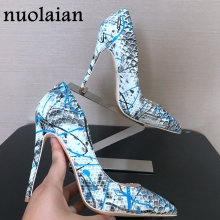 hot deal buy 2018 new 8/10/12cm thin heels womens shoes shallow snake brand design leather shoes woman pointed toe high heel shoes sexy pumps