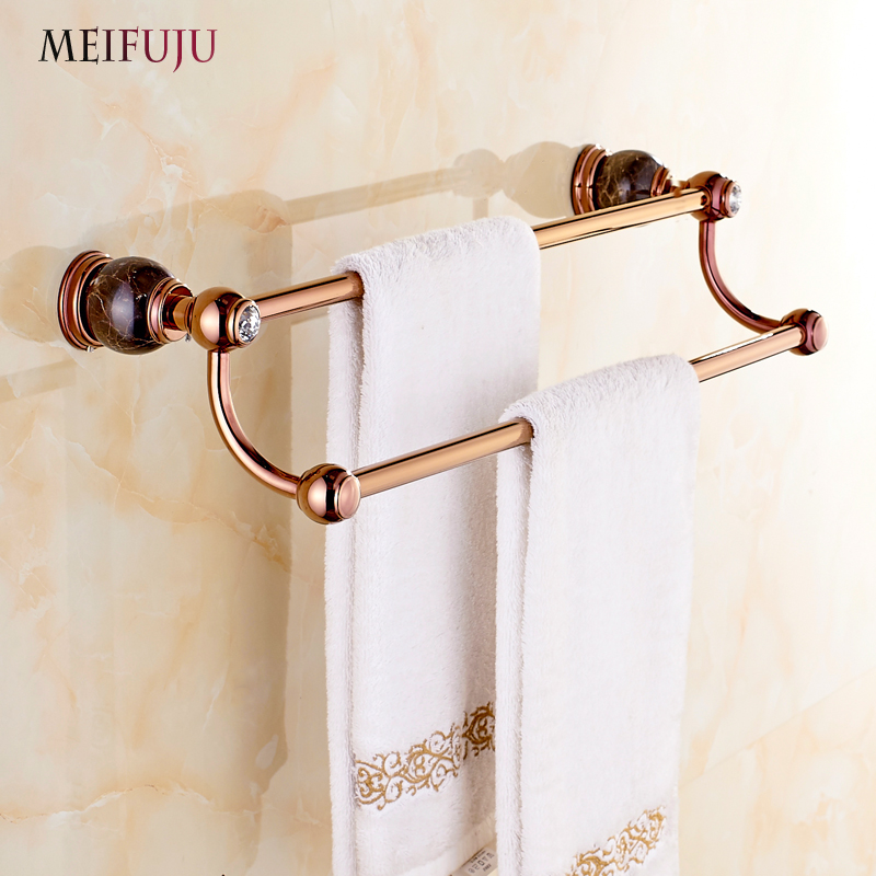 Rose Gold Finished Jade towel Bar Towel Holder Bath Products Bathroom Accessories Marble Towel rack towel hanger Wall mounted bathroom shelves wall mounted towel rack bars bath towel carved holder 2 tier brass bathroom accessories towel tack ssl s22