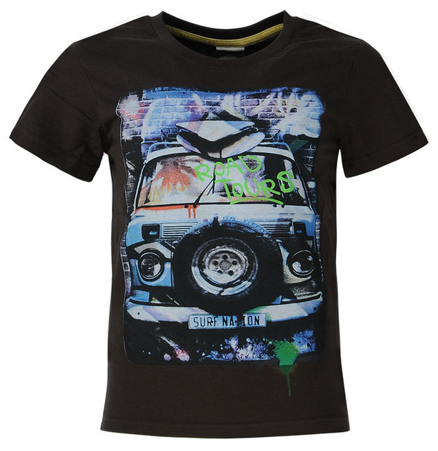 Glo-story Brand Cotton Jersey Kids Teenage Clothing Boy Cartoon Car Printed 10 years tshirt Boys Teen Short Sleeve T shirt 7511