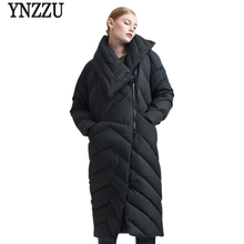 YNZZU 2017 Women Winter Coats Warm Fashion black Long Sleeve Zipper Brand Casual White Duck Down Jackets High Quality O251