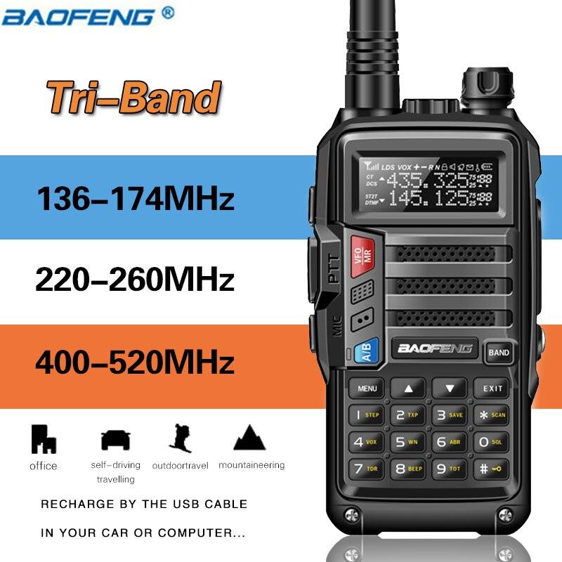 Baofeng Radio Walkie-Talkie Amateur Tri-Band Ham UV-S9 Handheld High-Power 8W 220-260mhz/400-520mhz