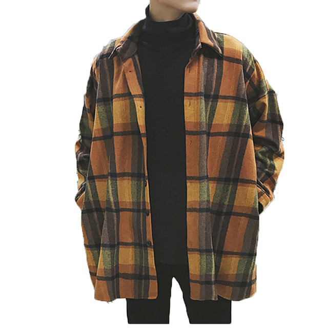 cb949da92eea Oversized Flannel Vintage Shirt Men Plaid Long Sleeve Check Shirts For Men  Loose Men Button Up