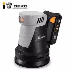 DEKO QD6203 20V Cordless Random Orbit Sander with 15 Sheets of sandpaper and Hybrid dust canister Lithium-Ion Battery 10,000/min