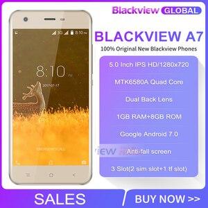 """Image 2 - Blackview A7 telefon komórkowy Android 7.0 MTK6580A czterordzeniowy 5.0 """"1 GB 8GB 3 kamery 3G WCDMA 2800mAh smartfon dual sim"""