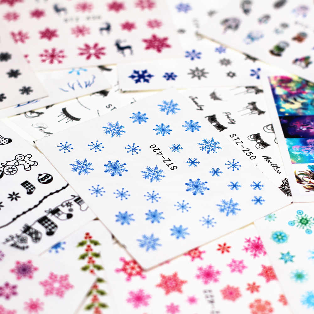 1pcs Smiling Face Snowflake Cartoon Nail Water Sticker Leaf Lace Design Slider Nail Art Decal Beauty Foils Decoration M1ns201