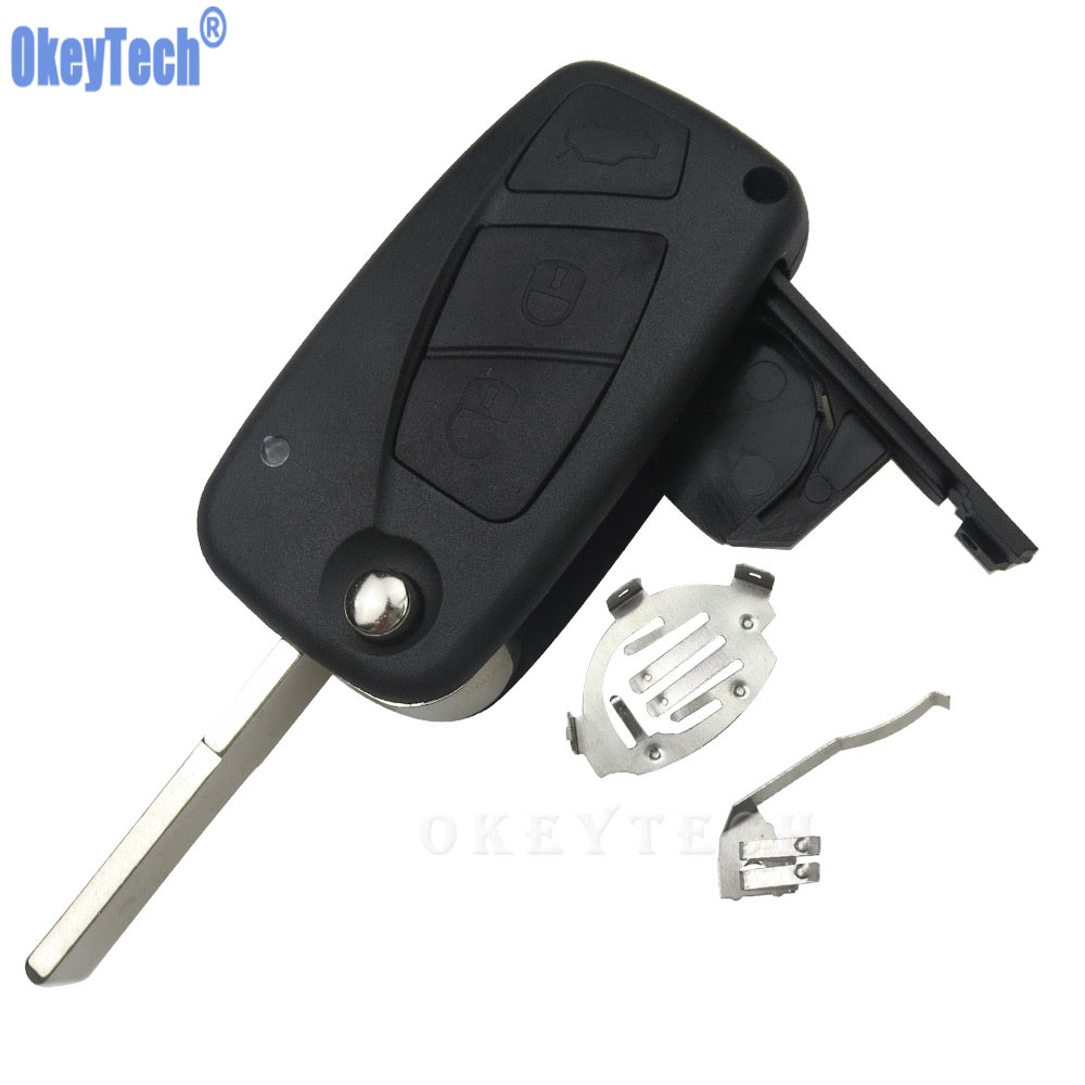 OkeyTech 3 Buttons Flip Car Remote Key Shell For Fiat 500 Panda Idea Punto Stilo Ducato Uncut Blade Blank Replacement Fob Cover free shipping flip remote key shell colorful replacement cover shell for fiat 500 panda punto bravo case