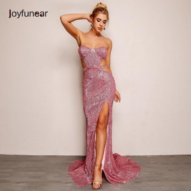 Joyfunear Sexy Strapless Pink Sequin Dress Women Elegant 2018 New Autumn  Bandage Party Maxi Dress Bodycon fd7e30613123
