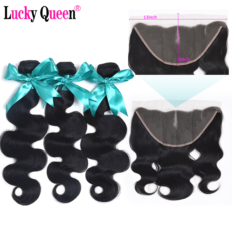 Lucky Queen Hair Brazilian Body Wave Bundles With Frontal Non Remy 100 Human Hair Bundles Wave