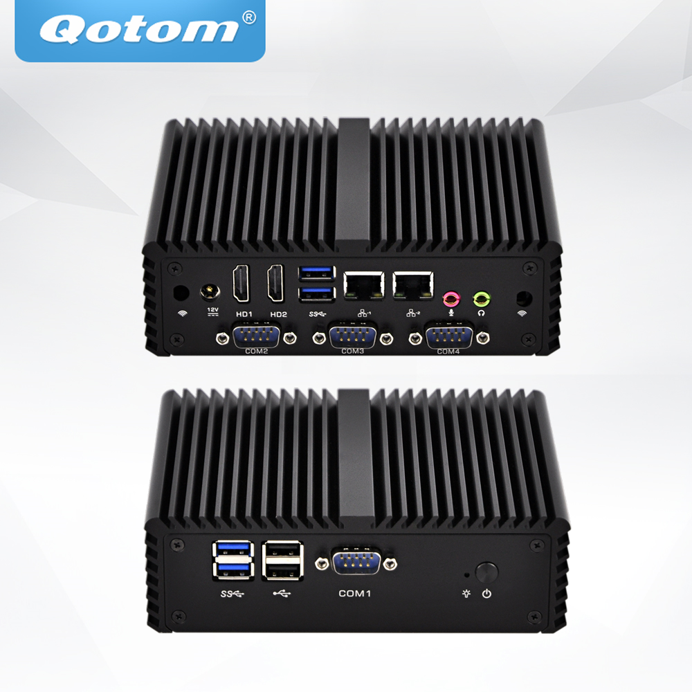 QOTOM Mini PC Core I3 I5 Processor Dual LAN 4 COM Ports Fanless Mini Industrial PC X86
