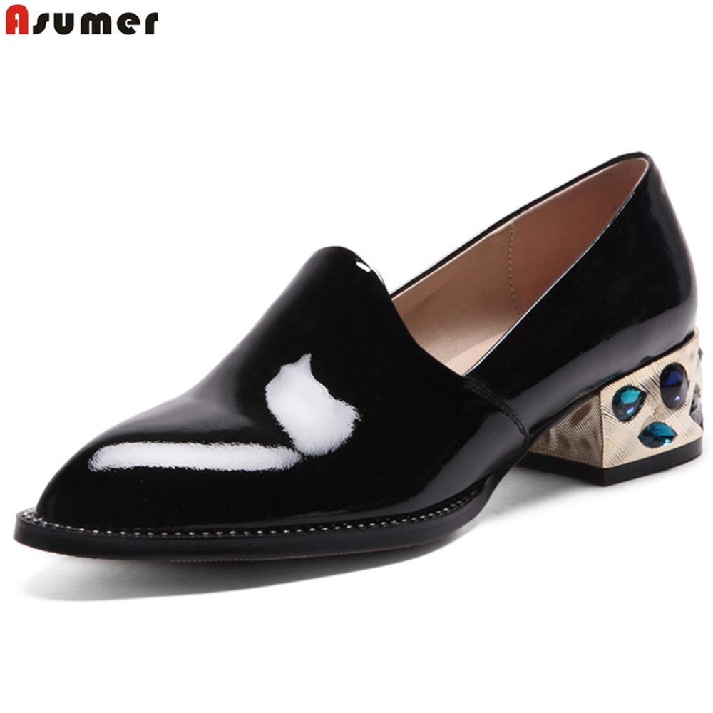 ASUMER black white fashion spring autumn ladies single shoes pointed toe square heel women genuine leather med heels shoes