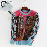 ORDEESON Tiger Pattern Printing Women Sweater O Neck Fashion Long Sleeve Knitted Sweater Tops Hit Color