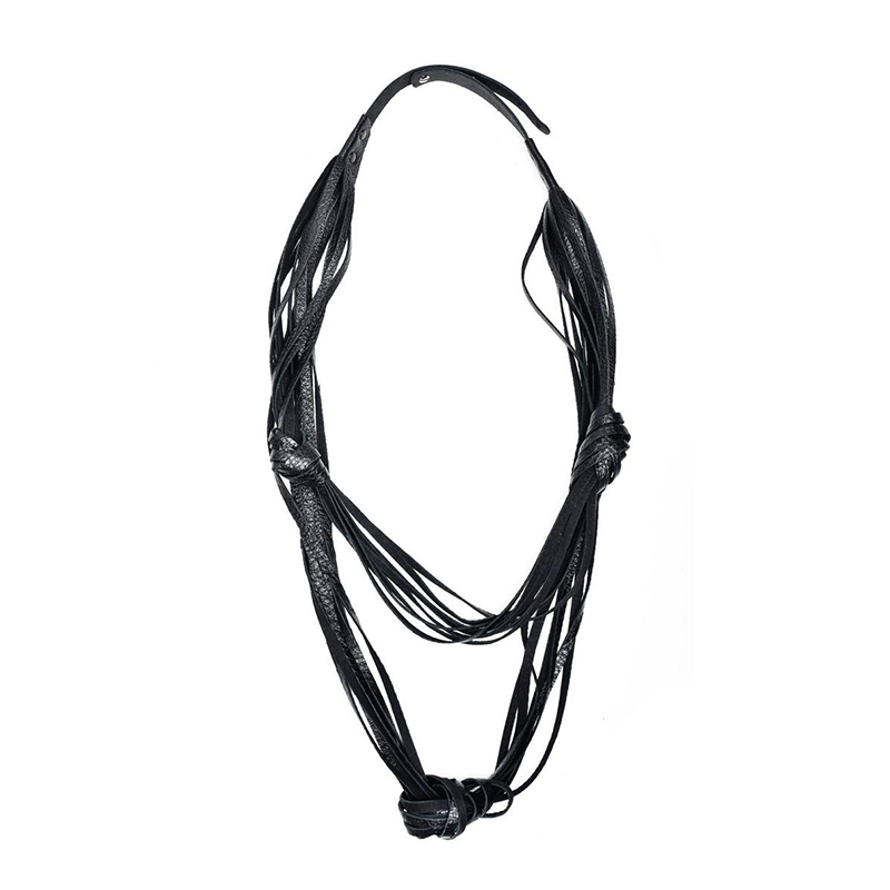YD YDBZ 2019 New Leather Necklaces Women High Street Pendant Necklace Long Designer Choker Harajuku Gothic Jewelry Chian Winding in Pendant Necklaces from Jewelry Accessories