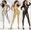 Mulheres Sexy & Hot Oco Out Zipper Frente Olhar Molhado Clubwear Macacões Bodycon Jumpsuit Clubwear Body Catsuit de Vinil W7711