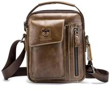 Cattle Captain Leather First Layer Mens One-Shoulder Genuine Shoulder Bag Vertical