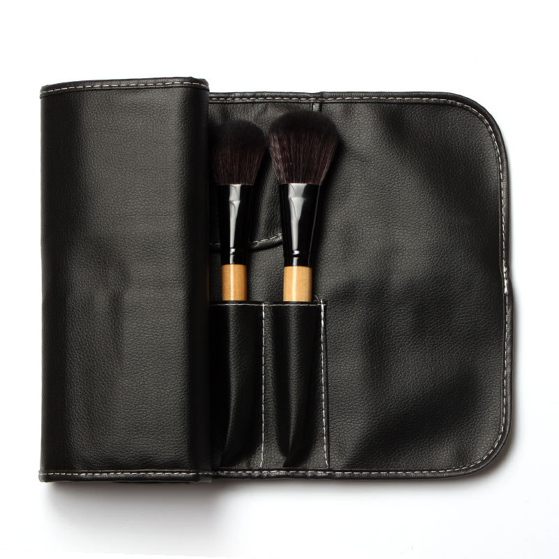 Professional Makeup Brushes Set 18Pcs Brushes in Black Leather Like Ties Case  Makeup Brushes   Tools d4d89938d45f