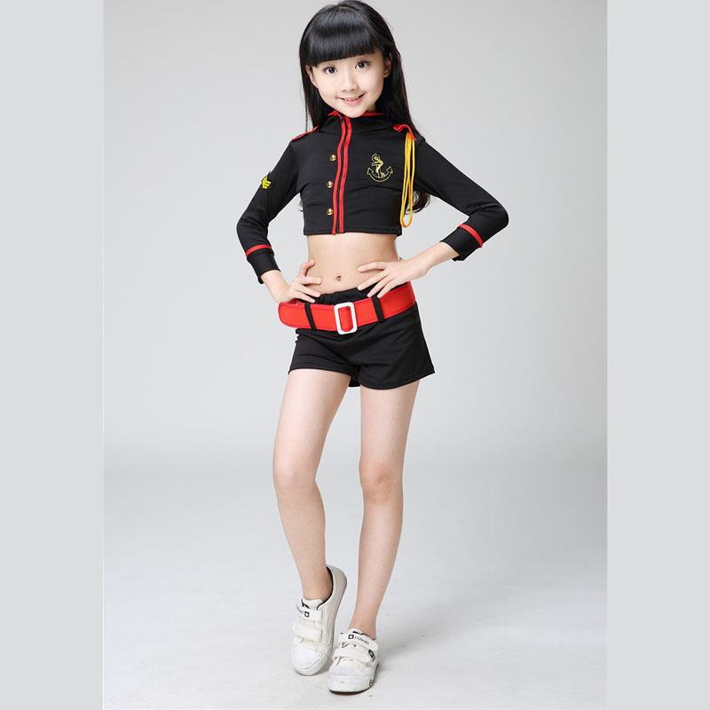 girl children black hip-hop hip hop costume aerobics jazz dance cheerleader costume shirt pants student suit kid clothes