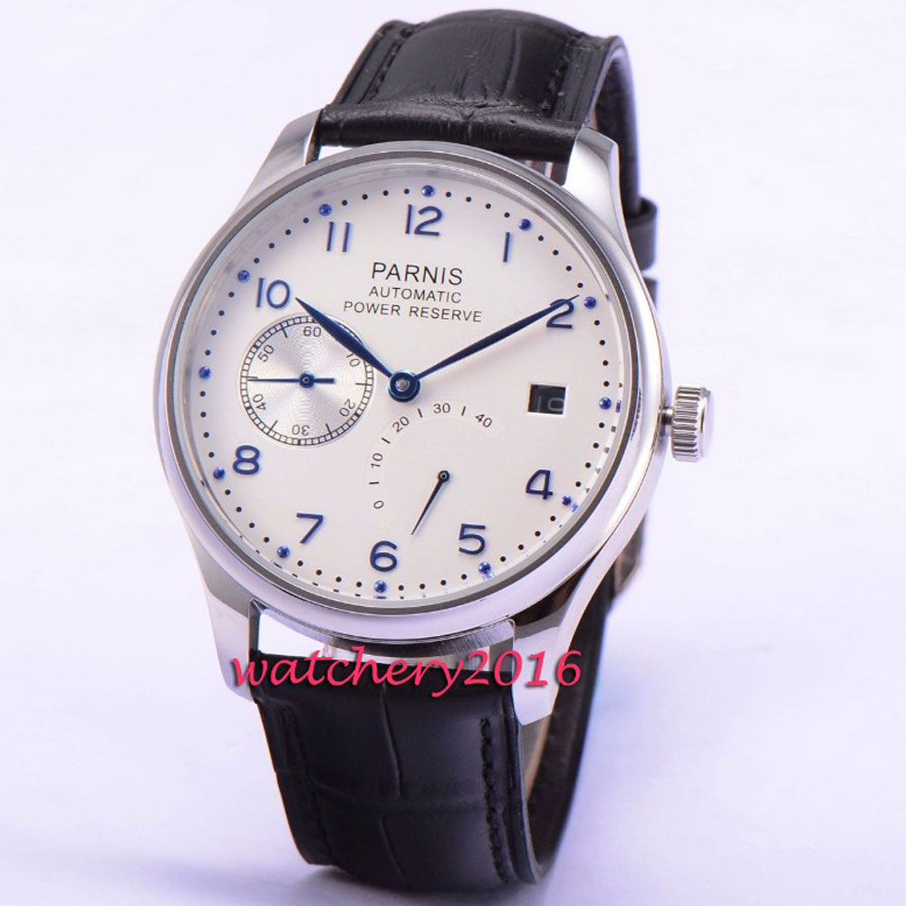 все цены на New 43mm Parnis White Dial date adjust Power Reserve Automatic Movement blue markers Men's Watch онлайн