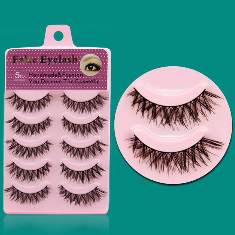 YOKPN Nature Messy Crisscross False Eyelashes Cotton Stalk Eyelash Beauty Makeup Tips Thick Fake Eye Lashes 1 Box 5 Pair