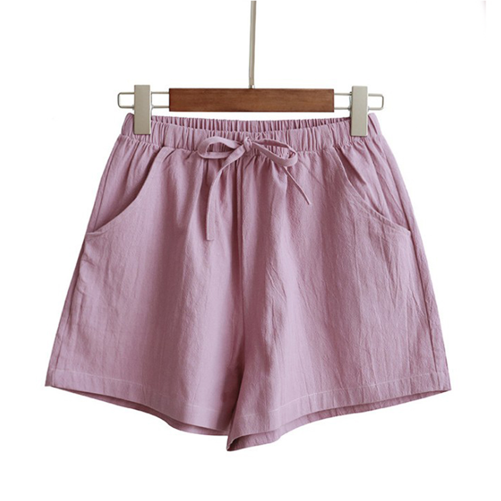 HTB1VLQyboKF3KVjSZFEq6xExFXaM - Women Female Casual Solid Color Cotton Linen Shorts Ladies Summer High Waist Loose Elastic Drawstring Club Holiday Short Pants