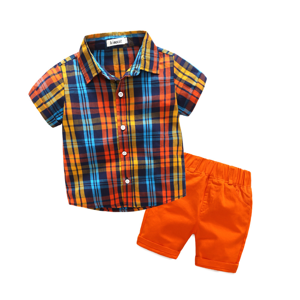 Baby Boy Clothes Sets New Kids Clothing Summer Suits Plaid Shirt Top Tee+Orange Shorts Casual Children Outfit 2Pcs /Sets 3-8Y