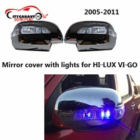 CITYCARAUTO REAR MIRROR COVER CAR CHORMED MOULDING STYLE WITH LED LIGHTS FIT FOR HILUX VIGO SIDE