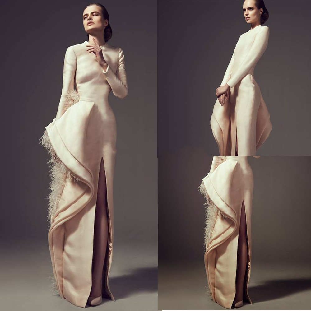 Elegant Jewel Long Sleeve Feather/Side Slit/Bow Champagne Satin Corset Evening Prom 2018 Vestido Mother Of The Bride Dresses