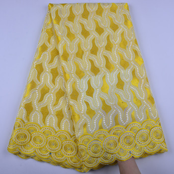 African Swiss Voile Lace 2018 Yellow High Quality Wedding Lace Fabric 100% Cotton Nigerian Swiss Voile Lace In Switzerland S1382